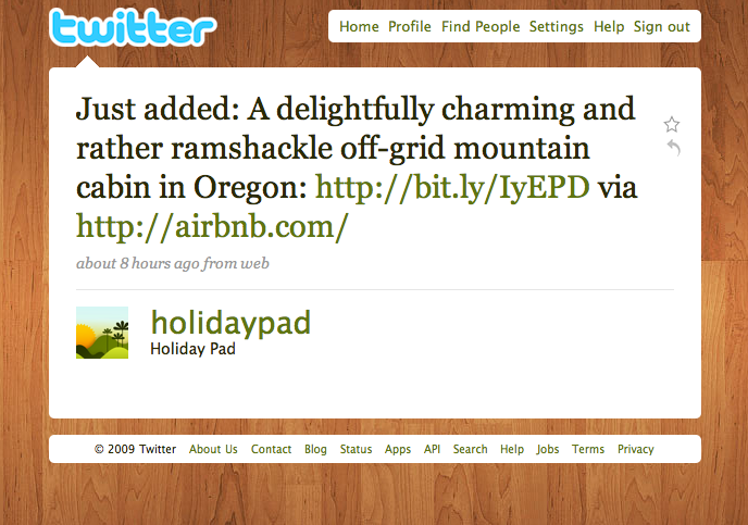 Twitter Love: @holidaypad