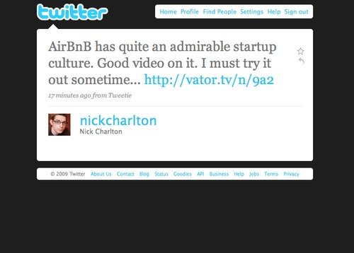 Twitter Love @nickcharlton