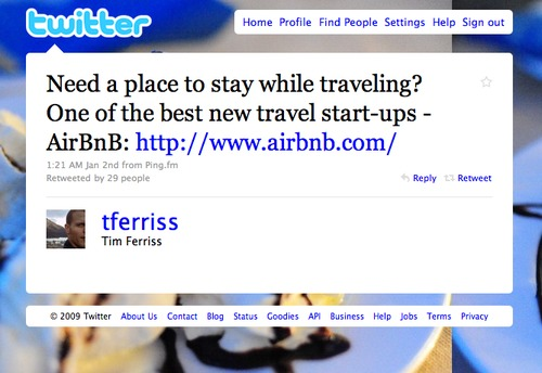 Twitter love: @tferriss
