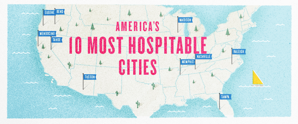 Airbnb Hospitable Map USA - top hospitable cities in the US