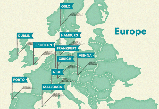 Europe hospitality map Airbnb
