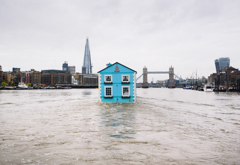Airbnb's fully functioning floating house arrives on the River Thames