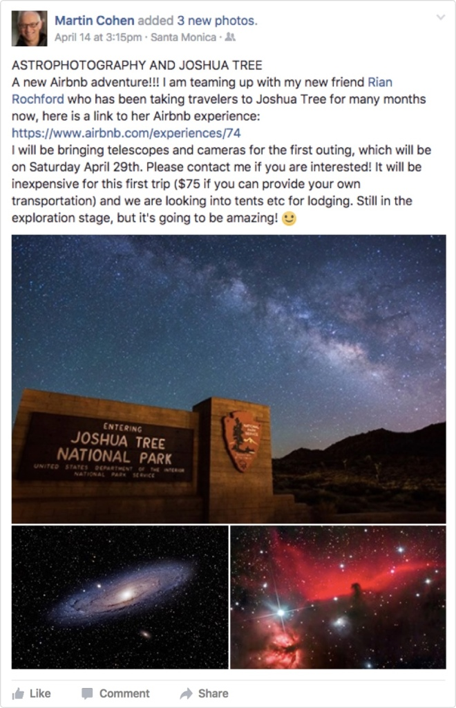 Airbnb experiences social media astrophotography