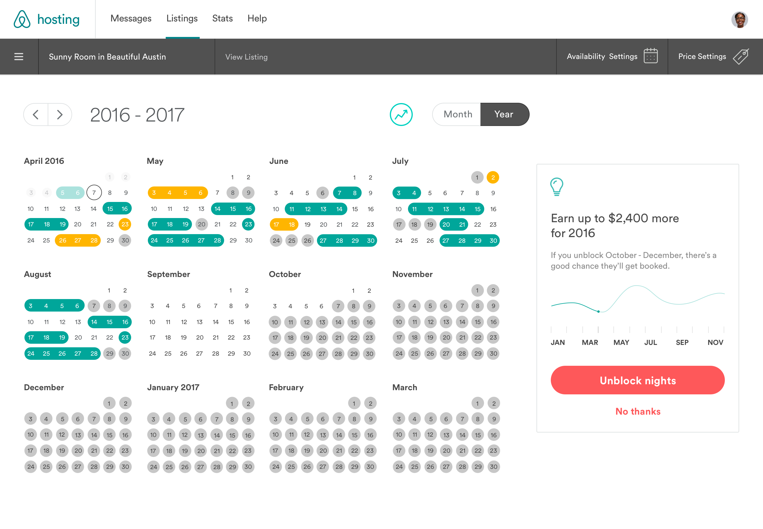 Calendar Year View : Calendar updates to simplify your hosting the airbnb