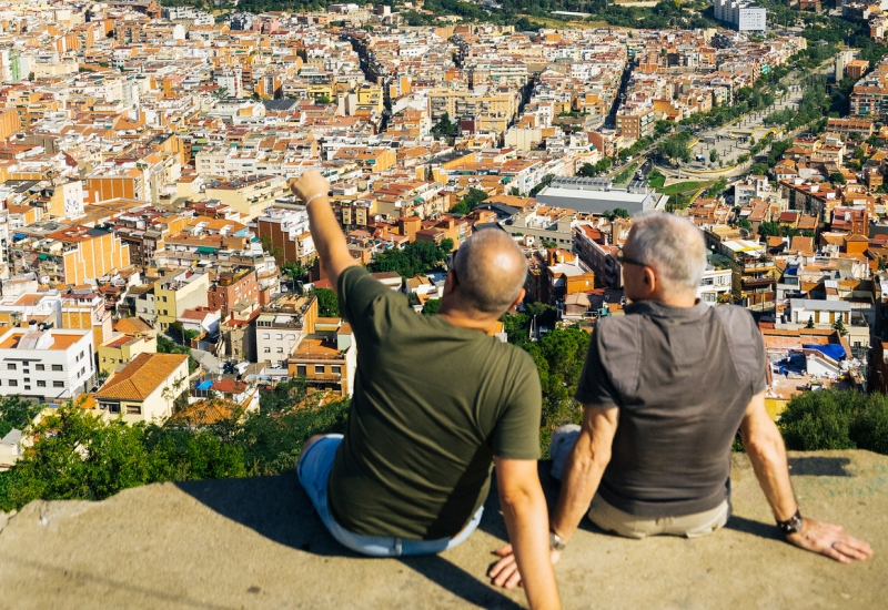 Alberto and a guest look out over Barcelona on the Airbnb experience Barcelona's Best Views