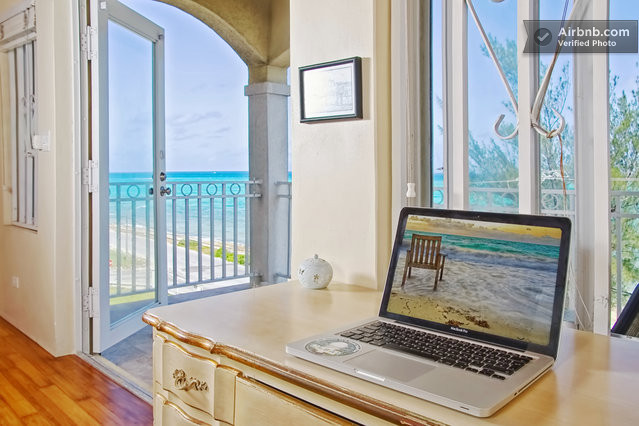 Computer desk overlooking the ocean