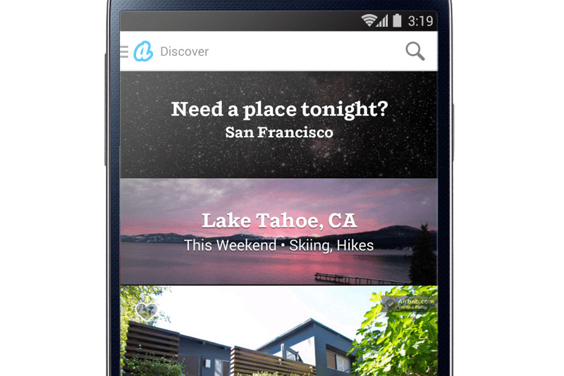 Airbnb mobile app - Last Minute and This weekend