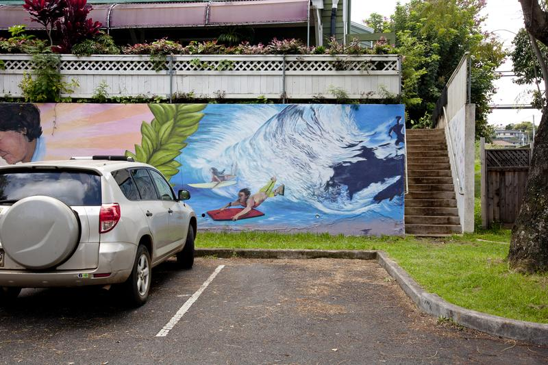 Wall art in Makawao Public Parking lot.