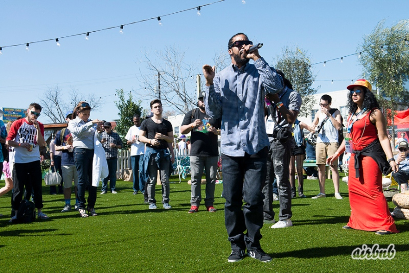 Dam-Funk performs at Airbnb Park in Austin